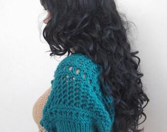 Oil green Shrug-New Item- Elegant Shrug-Knitting Shrug - Any Season-Bolero