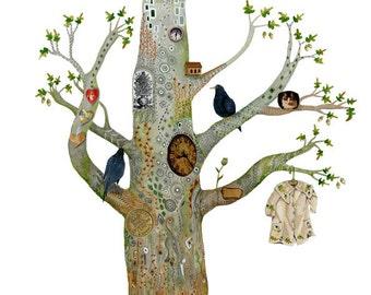 Print Oak Tree illustration decorative print 8x11