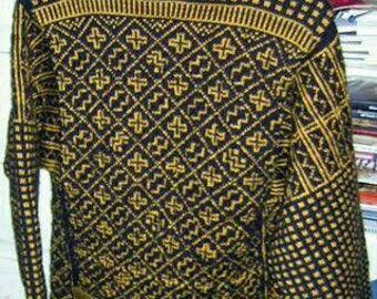 Women 34-36 black or African jacquard sweater