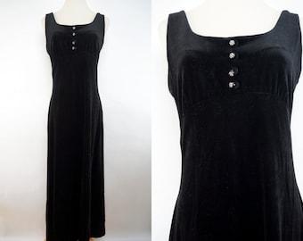 Black Velvet Maxi Dress 1960s Sleeveless Witch Gown Rhinestone Button Empire Waist Medium
