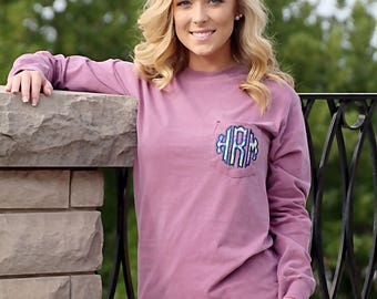 Lilly Monogram Comfort Color Long Sleeve Tee
