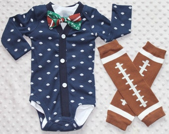 Baby Boy Cardigan and Bow Tie Set, Football Baby Suit, Navy, Leg Warmers, Trendy Baby Boy Outfit, Baby Football Outfit, Baby Boy Clothes