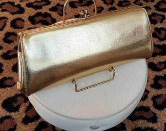 Vintage, 1960, goud Metallic, avond, koppeling, tas, handtas
