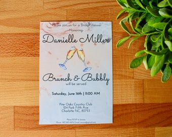 Brunch & Bubbly Bridal Shower Invitation, Printable or printed, Brunch and Bubbly, Custom Bridal Invitation, Pink, Printable Invitation