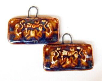 Tribal design earrings, hindu ceramic jewelry supplies, handcrafted ethnic earrings Findings, ceramic jewelry supplies, hindu supplies