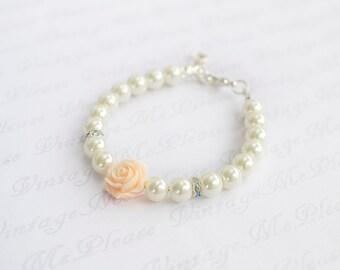 Flower Girl Bracelet, Personalized Bracelet, Bridesmaids Gifts, Flower Girl Gift, Infant Jewelry, Toddler Bracelet, Baptism Gifts, Bracelet