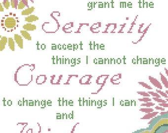 Serenity Prayer Cross Stitch Pattern, Modern Serenity Prayer Cross Stitch Chart, Floral Serenity prayer Cross-Stitch Pattern