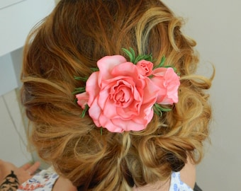 Floral Comb  with Foam Flowers, foam roses, pink rose, bridal comb, wedding hair comb