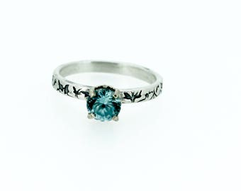 zircon engagement ring . engraved vine gemstone ring . handcrafted sterling silver engagement ring by peacesofindigo ready to ship size 6.5
