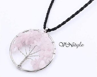 The tree of life necklace with rose quartz real stones