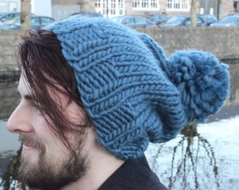 100% Wool Extra Slouchy Hat in Dusty Denim