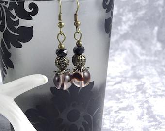 Handmade Black Fleck Teardrop Earrings