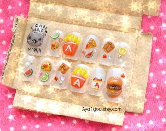 Japanese 3D nails, cat, fast food, hamburger, potato, pizza, chocolate, food nail, funny nail, deco nail, Harajuku, decoden, nail sticker