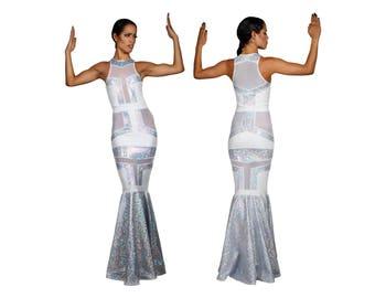 Futuristic Wedding Dress, Fishtail Bridal Gown, Alternative Bride, Futuristic Dress, Silver Wedding Dress, Costumes Burning Man, LENA QUIST