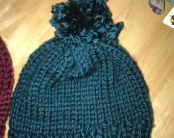 Dark Green Turquoise Homemade Knitted Pom Pom Hat