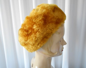Vintage Faux Fur Toque Hat Golden Tan 1960's  #20010