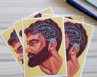 "Beards Art Print 5x7"""