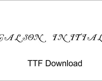 Calson Initials Digital Download Font TTF File Cricut