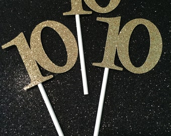 10 Cupcake Toppers, Ten Cupcake Toppers, Tenth Birthday Cupcakes, Gold Cupcake Toppers