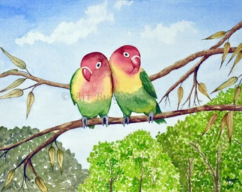 love birds art, love birds,Digital Download, love birds painting, bird art, parrot art, lovebirds, animal art, bird art, bird wall art,