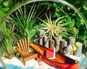 "Lake Beach Terrarium Kit ~7"" Air Plant Terrarium Kit ~ Canoe and Adirondack Chair ~ Egret ~ Lake House Decor ~ Gift idea ~ Christmas Gift"