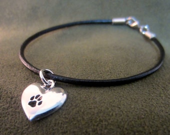 Paw On My Heart Charm on Leather Bracelet