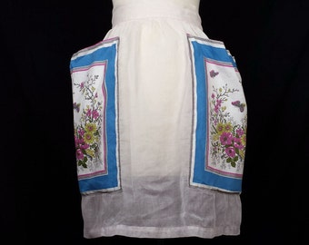 Vintage Half Apron Pale Pink Sheer Butterflies Floral Pockets, Kitchen Apron