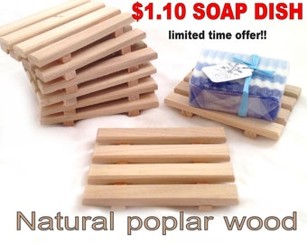 SALE - 60 natural poplar wood soap dishes JUST 1.10 each