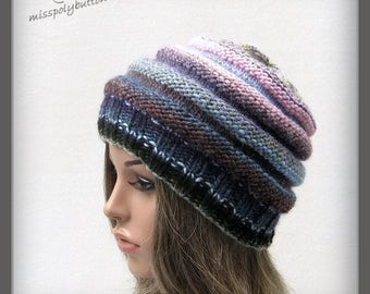 Womens Knit hat, beehive hat, multicolored hand knit winter hat, knitwear for women, gift for her