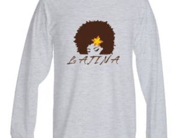 LATINA 100% Heavy Cotton long sleeve shirt in grey and black