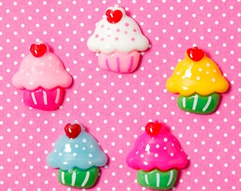 Kawaii Colorful Cupcake Cabochons, Cupcake Cabochon, Sweets Cabochon, 20mm (R4-041)