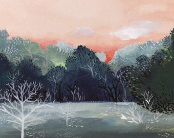 "Landscape painting, abstract landscape, landscape print, landscape art, winter landscape ""November Frost""- Print"