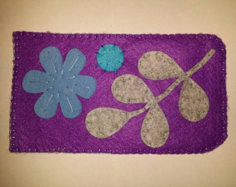 Cell phone pouch purple with flowers and leaves