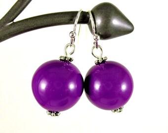 Gumball Earrings, Round Bead Earrings, Purple, Chunky Earrings, Drop Earrings, Dangle Earrings, Silver, Purple Earrings, Ball Earrings
