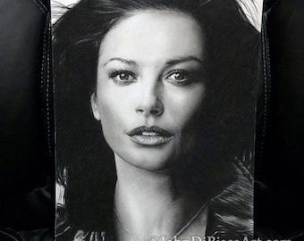 Original Drawing of Catherine Zeta-Jones (NOT a print)