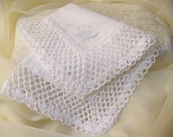 Heirloom Handkerchief, Hanky, Hankie, Fancy, Lace, Hand Crochet, Ladies, Embroidered, Personalized, White, Keepsake, Ready to ship