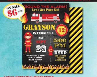 Self-Editing Fireman Birthday Invitation-Firetruck Birthday Invitation-Firefighter Party-Fire Truck-First Birthday Invite-Any Age-A104-FF