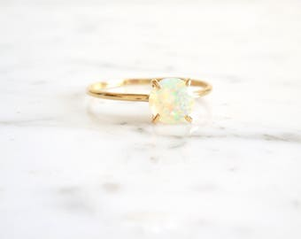 Opal Ring - Round Opal Ring, Opal Engagement ring, 6 mm Faceted Opal, Multi Colors, October Birthstone, Solitaire Opal Ring, Ethiopian Opal