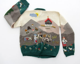 Vintage Sweater // Folk Embroidered Cardigan Sweater // size M, L