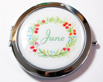 Custom compact mirror, personalized, compact mirror, purse mirror, personalized mirror, floral  (2561)