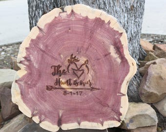 Rustic Wedding Decor, The Hunt Is Over, Laser Engraved, Guest Book or Centerpiece, extra large wood slice, extra large wedding guest book