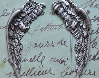 Dark Angel wings, left and right WITH HOLE, brass stampings, Sterling silver finish