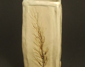 Square Pillar Vase Impressed With Rosemary Branch Patterns