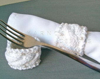 Special Occasion Cable Knit Napkin Rings / With Handsewn Pearl Accents