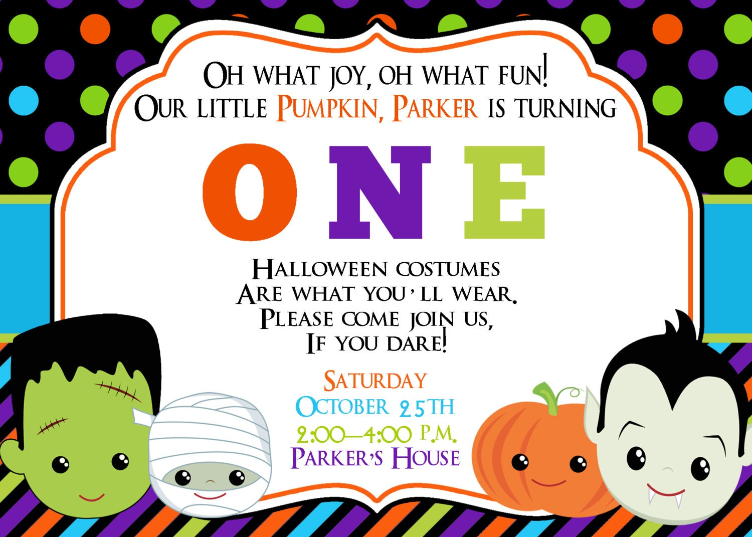 First Birthday Halloween Party Invitation Halloween Birthday