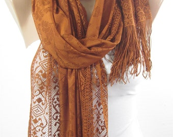 Valentines Gift For Her Tulle Scarf Brown Scarf Shawl Wrap Trending Item Cowl Scarf Spring Summer Fall Fashion Scarf Mom Fashion Accessory