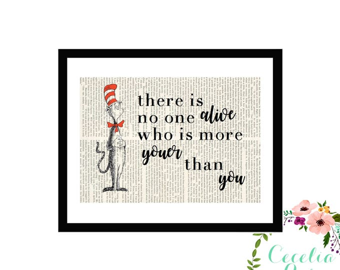 There Is No One Alive Who Is More Youer Than You Dr. Seuss Oh The Places You'll Go Farmhouse Childrens Nursery Book page Box Framed or Print