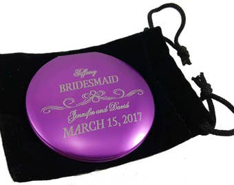 Bridesmaid Gift - compact mirror, Personalized compact, Bridesmaid compact, Pocket mirror, Personalized mirror, Thank you Keepsake gift,