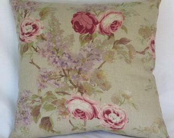 "Pink Roses Floral Pillow Cover, Tan 17"" Square Linen Blend, Cottage Farmhouse Decor, Purple Lilacs,  Ready Ship"