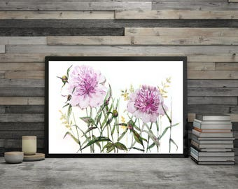 Peony Art Watercolor Print Big canvas Flowers wall art Floral Watercolor painting